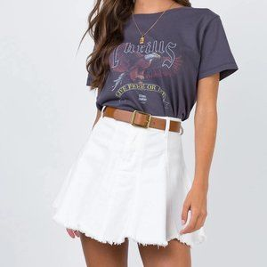 Princess Polly Jaz White Denim Mini Skirt